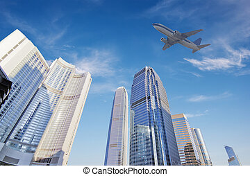 airplane - the airplane with the city scene background