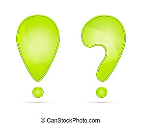 exclamation and question mark - Green exclamation and...