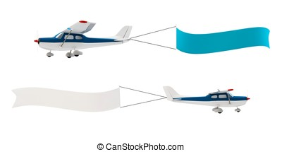 3d plane pulling advertisement banner