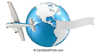3d plane pulling advertisement banner with earth globe...