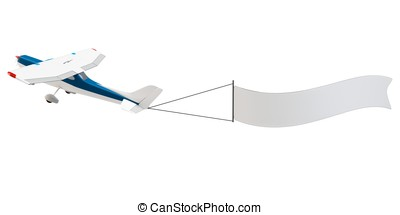 3d plane pulling advertisement banner isolated on white...