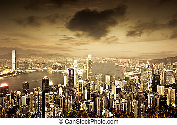 hongkong - Hong Kong skyline at night