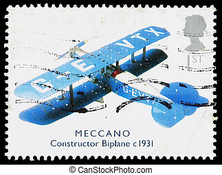 Britain Meccano Biplane Postage Stamp - UNITED KINGDOM -...