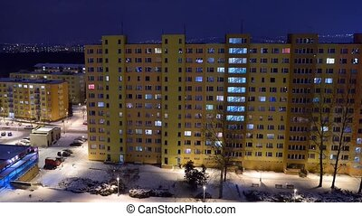 Night apartment - Residential blocks after sunset with...