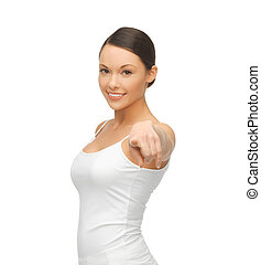 woman in blank white t-shirt pointing at you - happy woman...