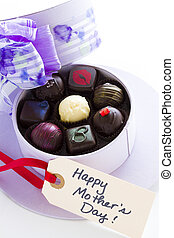 Assorted truffles in cute hat shape boxes for Mothers Day