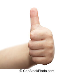 childs hand with a raised thumb up