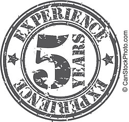 Grunge 5 years of experience rubber stamp, vector...