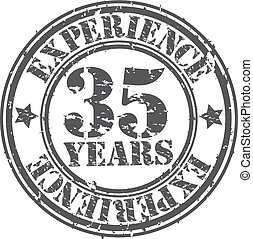 Grunge 35 years of experience rubber stamp, vector...
