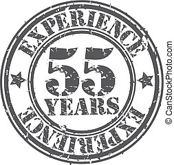 Grunge 55 years of experience rubber stamp, vector...