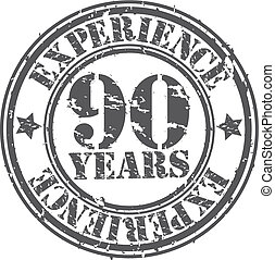 Grunge 90 years of experience rubber stamp, vector...