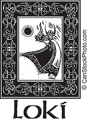 Norse God Loki With Border - Woodcut style image of the...