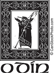 Norse God Odin With Border - Woodcut style image of the...
