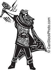 Norse God Thor - Woodcut style image of the Viking God Thor