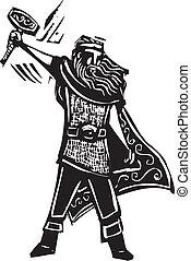 Norse God Thor - Woodcut style image of the Viking God Thor