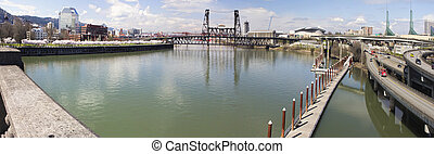 Willamette River View from Burnside Bridge - Waterfront Park...