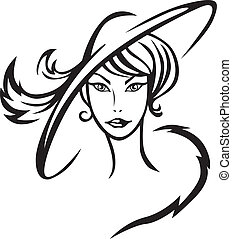 Beautiful lady in hat - Contour image of a beautiful lady in...