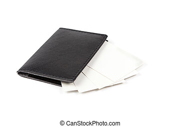 Business cards holder - Business cards in closed leather...