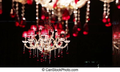 Beautiful crystal chandelier - Moves focus from one to the...