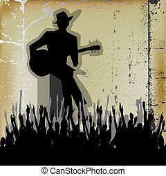 Blues Guitar Concert, Vector Poster or Flyer for an Acoustic...