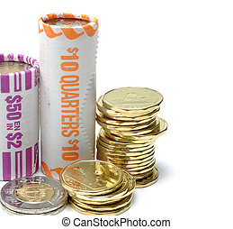Canadian one and two dollars coin roll on white background