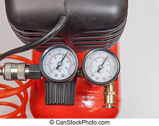Air compressor manometer - Detail of air compressor with...