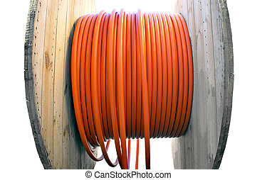 cable drum with orange cable - Wooden cable drum with orange...