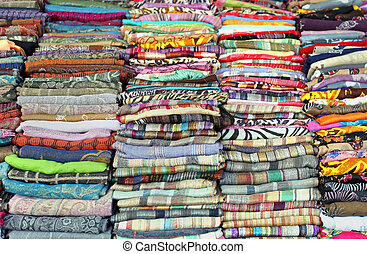 Colorful scarves - Big pile of colorful patterns scarves...
