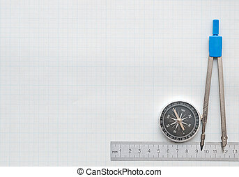 compass and pencil on graph paper