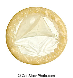 sex condom protection - close up of a condom on white...