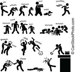 Zombie Undead Attack Apocalypse - A set of people stick...