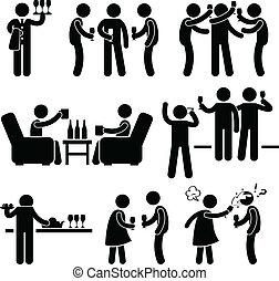 coquetel, Partido, pessoas, homem, amigo
