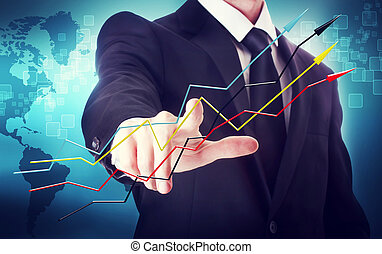 Businessman with Rising Arrows