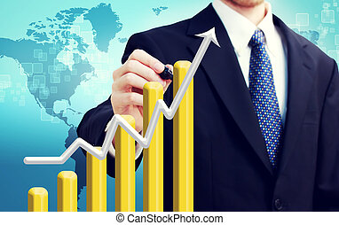 Businessman with Rising Graph