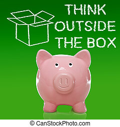Piggy bank with thinking outside the box theme