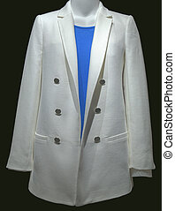 White Women's Jacket with Blue Sweater on Black