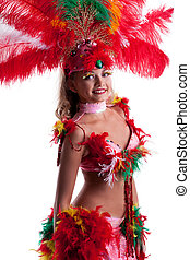 Image of smiling young woman in festival costume