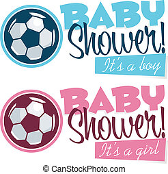 Soccer Baby Shower Banners - Baby shower banners with soccer...