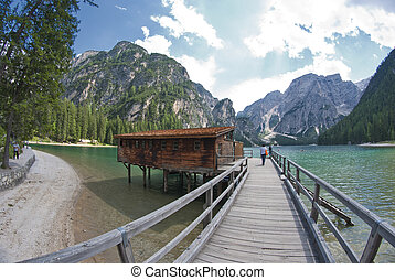 Braies Lake, Italy - Lake of Braies on the Dolomites, Italy