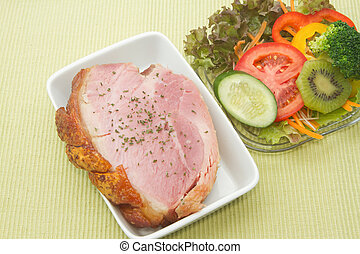 Smoked ham stack with fruit and vegetable salad