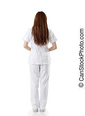Asian nurse - Rear view of Asian nurse dress on white...