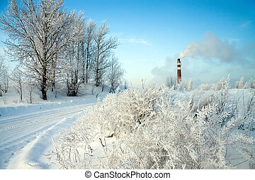 industrial air pollution - winter day and industrial air...