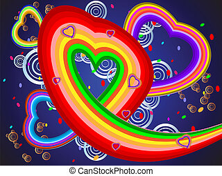 Colorful illustration with hearts of different color bands...