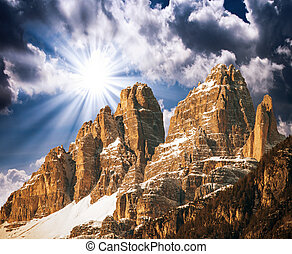 Tre Cime Mountains in Italy.