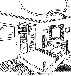 Interior of a bachelors or single woman room