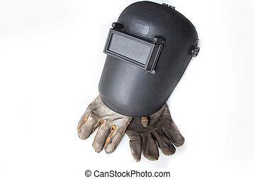 welding helmet and gloves - Welding mask and gloves on white...
