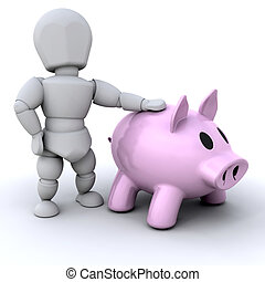 Person with piggy bank - Someone stood next to a piggy bank