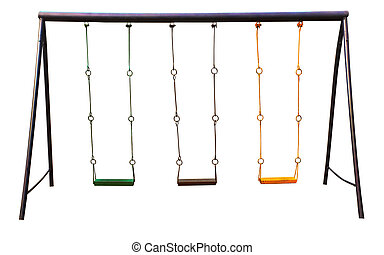 Old swing on the playground - Steel toy with ropes isolated...