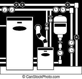 Boiler room in black and white color.