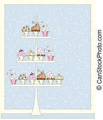 wedding cupcakes - an illustration of a cake stand for a...